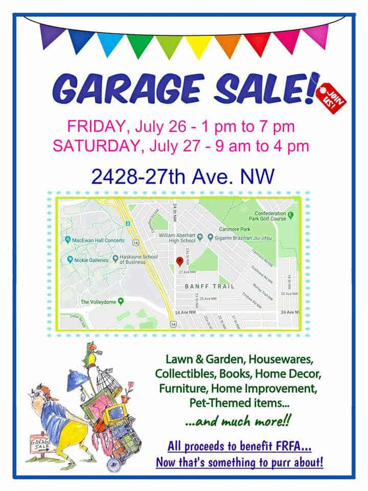 Dates, time and location of FRFA garage sale